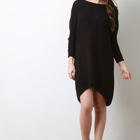 Dolman Sleeves High Low Shift Sweater Dress