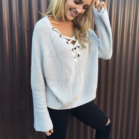 Fashion Long Sleeve V-Neck Strappy Knit Top Sweater