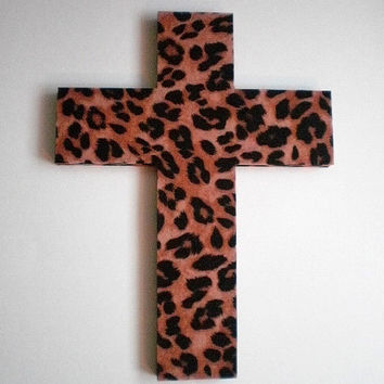 ANIMAL PRINT (CHEETAH) Wall Cross -  Wood Cross with cheetah print eco felt