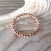 Septum Ring Twisted 14K Rose Gold Filled,Nose Ring,Daith piercing ring,cartilage,helix,tragus,ear hoop earring,18g (1mm) - Diameter 8mm