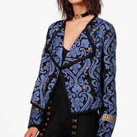 Amelia Boutique Brocade Gold Trim Jacket | Boohoo