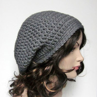 Concrete Gray Slouch Beanie - Womens Slouchy Crochet Hat - Oversized Cap - Chunky Hat