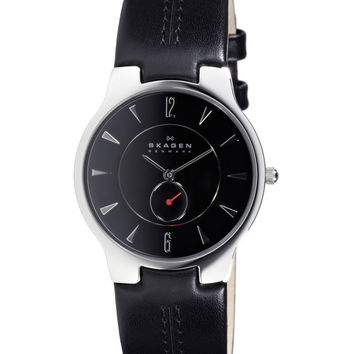 Skagen 433LSLB Men's Denmark Black Dial Leather Strap Quartz Watch