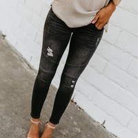 Grey Piped Frayed Skinnies - FINAL SALE