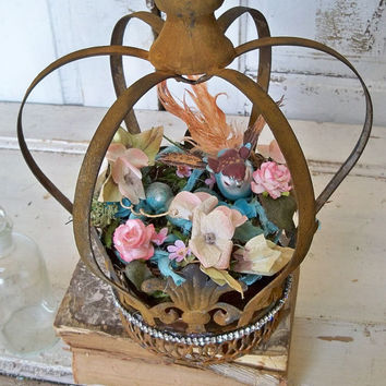 Large metal crown with bird nest French inspired distressed rusty embellished home decor  Anita Spero