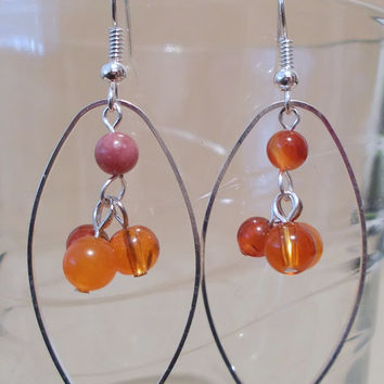 Shades of Orange Glass Bead & Silver Oval Hoop Dangle Earrings, Handmade, Original Design, Unique, Fashion Jewelry, Modern, Simple Elegance