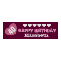 40th Birthday Star Banner Custom Name V02 HEARTS Posters
