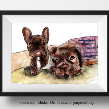 Sketch of two dogs. Draw my pet service from Etsy artist StephanieB. Pet prints from drawing of pet in watercolor. Perfect in memory gift
