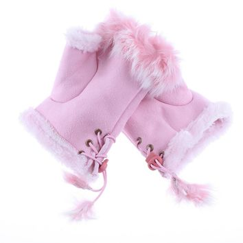 okdeals 1Pair Fashion Women Lady Girls Half Finger Gloves Faux Fur Hand Warmer Winter Fingerless Mittens