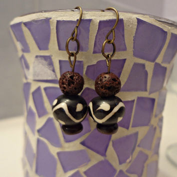 Volcanic Rock and Bone Bead Earrings by EudaimoniaJewelry on Etsy