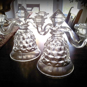 Fostoria American, Double Candle Holders,  Bell Foot, 2 Lite, Pair of two candleholders, #2056 Line, Elegant Depression Glass, Clear Crystal