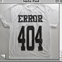 ERROR 404 Cyberpunk Internet tumblr grunge goth club kid rave 90s kawaii computer cyber witch jersey