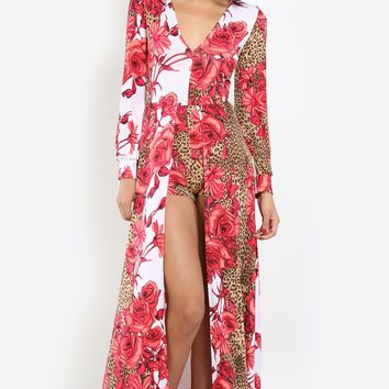 Cheetah Blossom Slit Front Maxi Dress