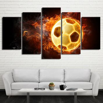 Football Soccer Ball w/ Flames Fire Smoke Wall Art Panel Canvas Print Poster