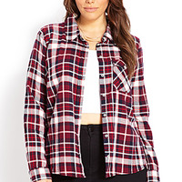 FOREVER 21 PLUS On The Range Plaid Shirt Navy/Red X-Large