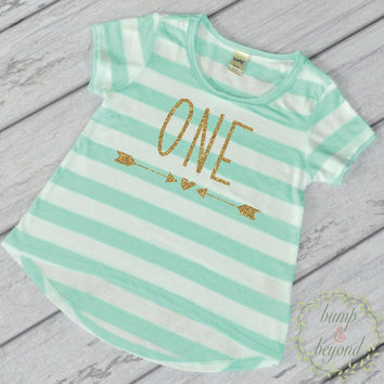 Girl First Birthday Shirt 1 Year Old Birthday Shirt Girl One Year Old Birthday Girl Outfit Toddler T-Shirt 1st Birthday Shirt Green 133
