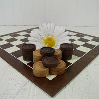 Vintage Natural Wooden Checkers Game - Retro CheckerBoard Game Equipment to Repurpose - Man Cave Bar and Gameroom Decor