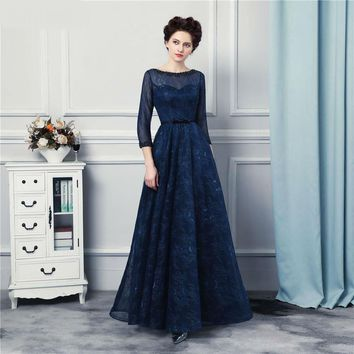 Navy Blue Long Mother Of The Bride Dress Lace Floor Length 3/4 Long Sleeves Wedding Event Dress
