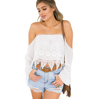 TT282 Women Sexy Off Shoulder Strapless Hollow Out Lace Crochet Beach Blouse Blusas Shirts Summer Tube Tops White New 2016