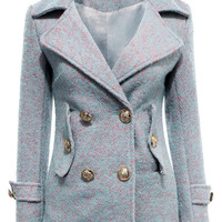 Blue Double-breasted Longline Wool Coat