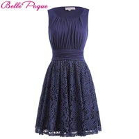 Belle Poque New Retro Vintage Women Summer Dress Sexy Sleeveless Lace Navy Blue Splicing Elegant Ladies Evening Party Dresses