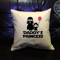 Daddy's Princess Star Wars Pillow Cover, Star wars Pillow cover, Handmade pillow, Star Wars Decor, Pillow cotton canvas  Pillow Cover Gift