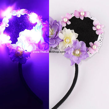 Purple LED Light Up Mickey Ears,Flower Mickey Ears,Floral Mickey Ears,Disney Ears,Flower Mouse Ears,Disney Headband,Disneyland Ears,Ears