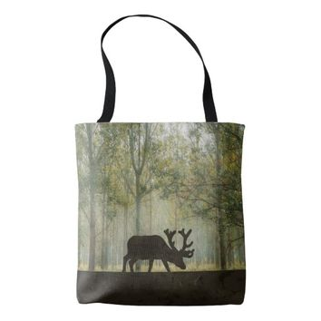 Moose in Forest Illustration Tote Bag