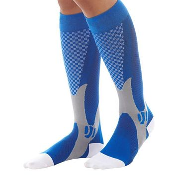 Unisex Men Women Leg Support Stretch Magic Compression Socks Sports Running Football
