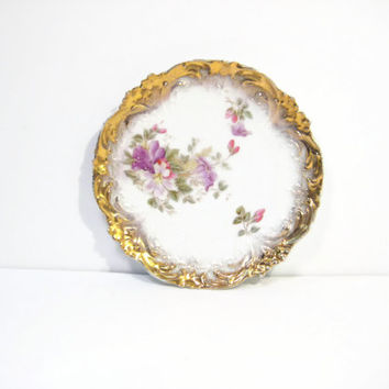 "Vintage Bavarian China Decorative Plate Gold Gilt Floral China Wall Hanging Cabinet 8"" Display Plate"