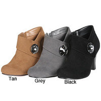 Story Women's Suede Ankle Rhinestone Embellished Bootie | Overstock.com