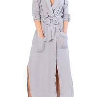 Gray Shirt Dress with Belted Wrap Front