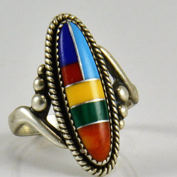 "Sterling Southwestern Ring - Inlaid Turquoise Malachite Coral Shell Lapis Lazuli Spiney Oyster - Signed - Elongated 1"" Oval Sterling Silver"