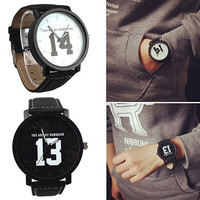 Numeral Dial Comfortable Faux Leather Strap Quartz Analog Wrist Watch Men Women Lover Couples Sweet Gift = 1929856068