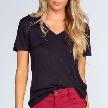 Alli Distressed Tee - Black
