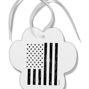 Stamp Style American Flag - Distressed Paw Print Shaped Ornament by TooLoud