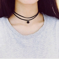 Vintage Double-Layered Bead Women's Choker Necklace