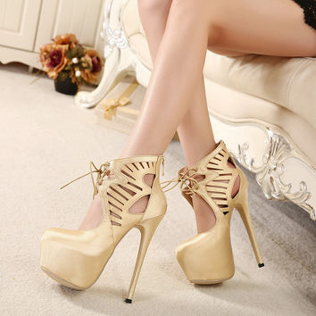 Ultra High Gold and Black Pumps Night Club Heels Platform Stiletto Shoes