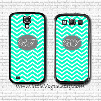 Personalized name initials monogram Phone Case Samsung Galaxy s2, Galaxy s3, Galaxy s4, Mint Green Chevron and Grey Script Monogram case