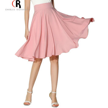 Midi Skirt 2017 Summer Women Clothing High Waist Pleated A Line Skater Vintage Casual Knee Length Saia Petticoat
