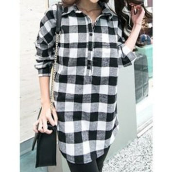 Casual Shirt Collar Plaid Loose-Fitting Long Sleeve Women's Blouse