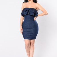 Ruffled Up Dress - Dark Denim