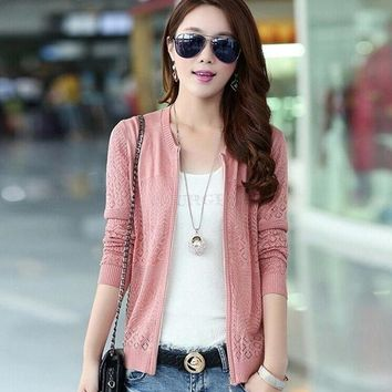 Women Thin Knitted Cardigan Hollow Out Sweater Jacket