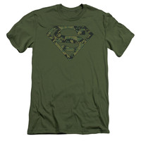 SUPERMAN/MARINE CAMO SHIELD - S/S ADULT 30/1 - MILITARY GREEN -