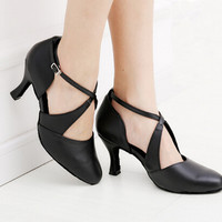 Women Dance Shoes Black Genuine Leather Ballroom Shoes Dance Shoes Latin SALSA Bachata Dance Shoes