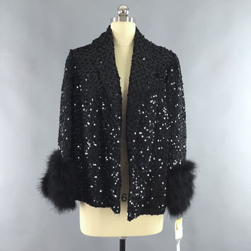 Vintage 1960s Sequin Jacket / Marabou Feather Trim – ThisBlueBird - Modern Vintage