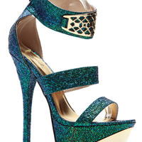Mermaid Luxe Gold Accent Platform Heels