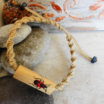 Bracelet for men, Bugs jewelry, Natural bracelet, Rustic ornament, Wood and macrame, Wood bracelet, Statement jewelry, Handmade unique gift