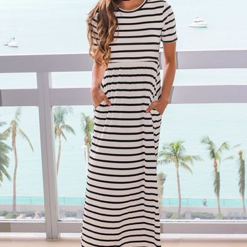 Black and White Striped Short Sleeve Maxi Dress