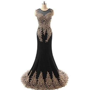 Gold Appliques Mermaid Long Prom Evening Dresses Bridesmaid Bridal Trailing Gown